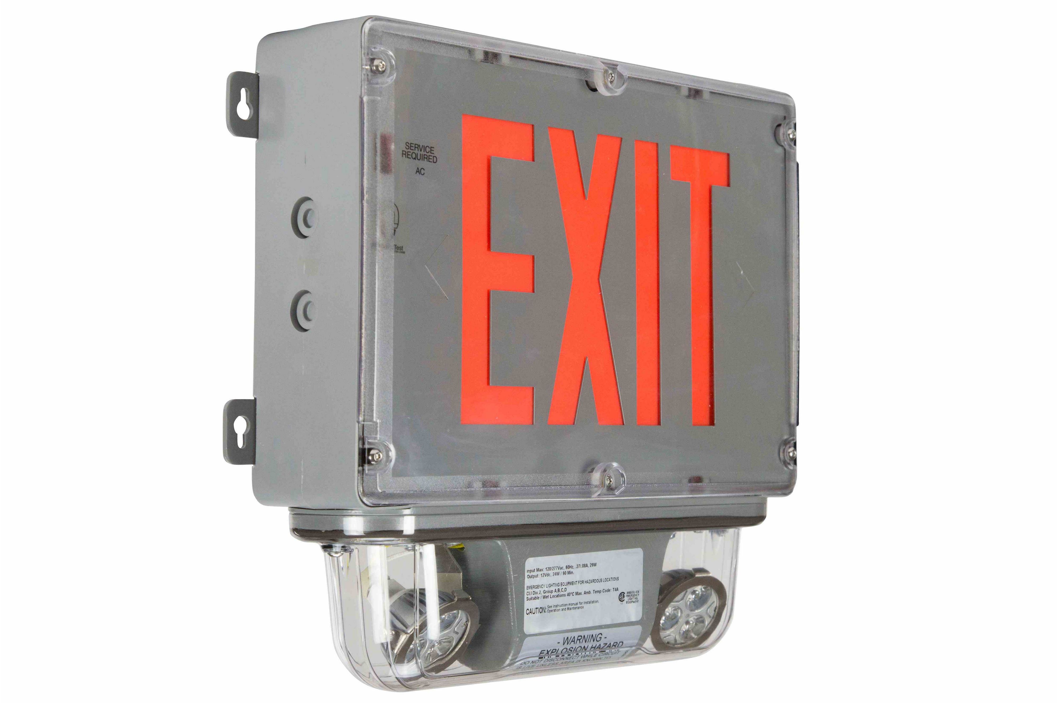 10w Explosion Proof Led Emergency Exit Sign W   Halogen Bug