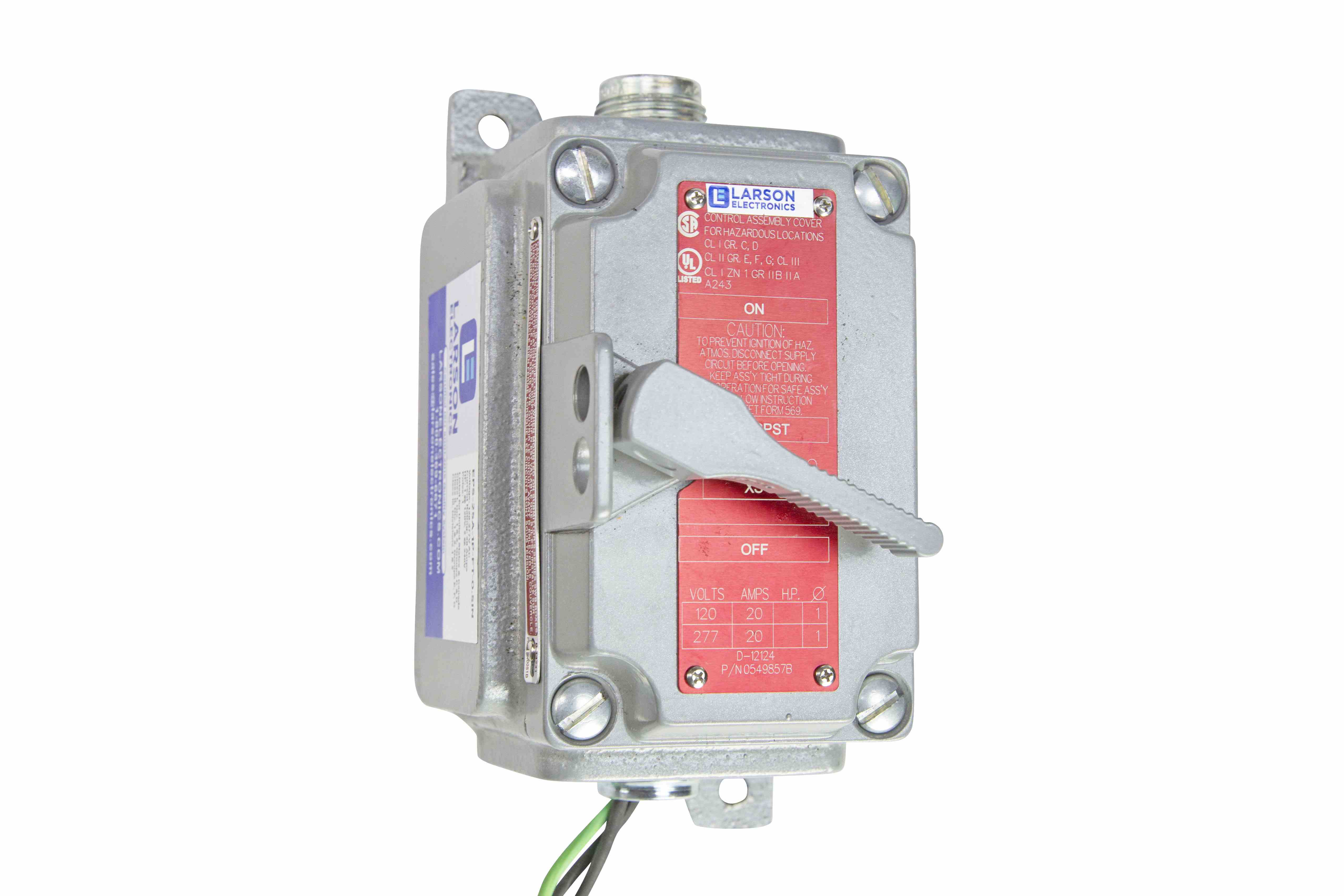 Explosion Proof On/Off Switch - Class I, Div  1 & 2 - Class II, Div  1 & 2  - 20 Amp Rated