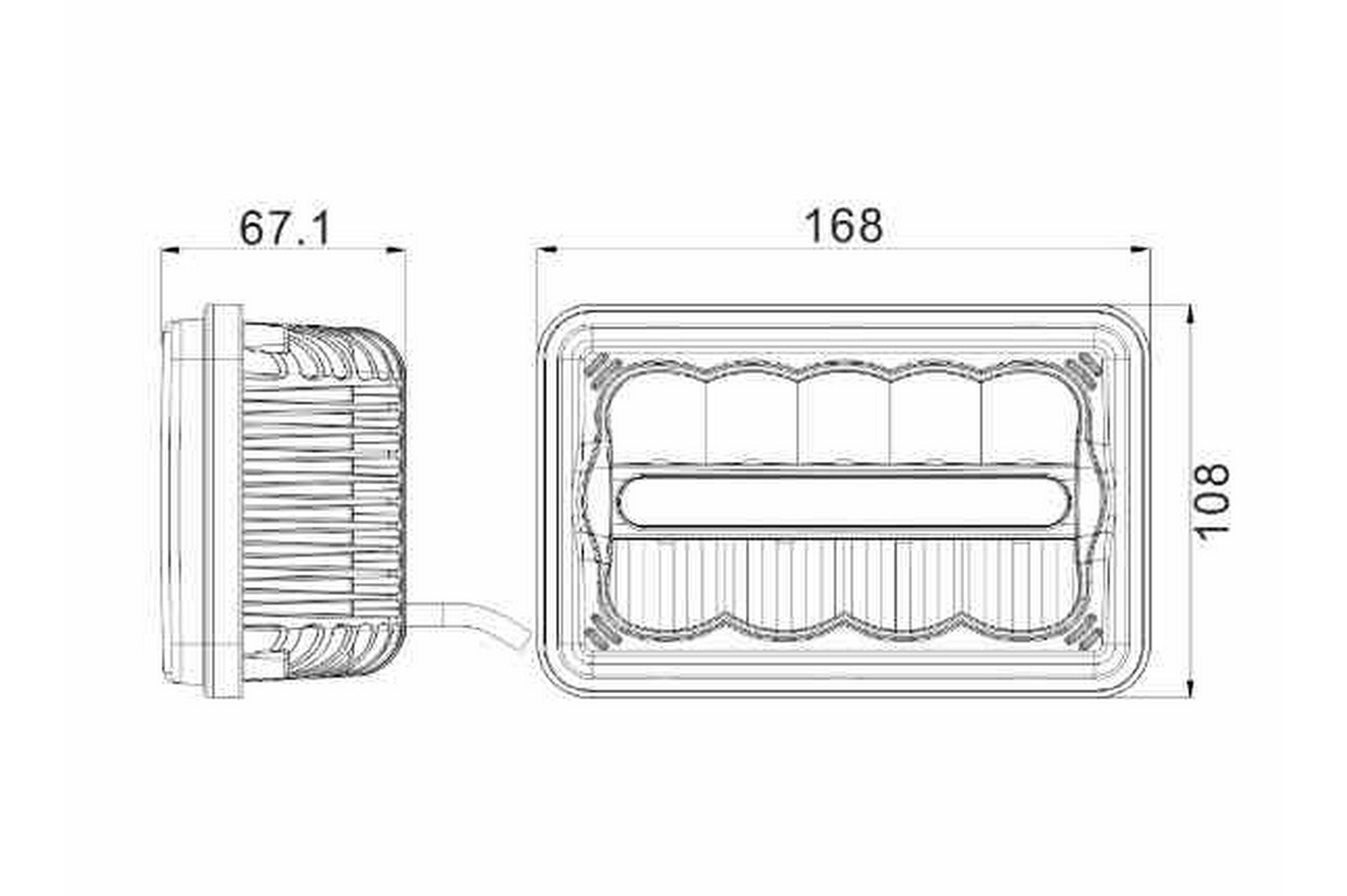 45W 4x6 External LED Headlights - Low/High Beams - 10-30V DC - Chrome  Reflector