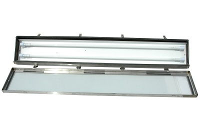 Stainless Steel Bi Axial Fluorescent Light 4 Foot 2 Lamp Hazardous