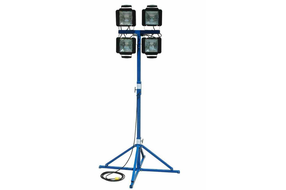 portable work area flood light tower - quadpod mount