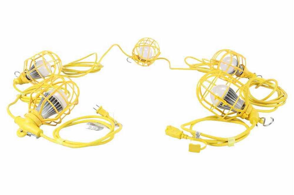 Temporary String Lights Led : 26ft Temporary Construction String Light - (5) 10W LED Work Lamps - 50W LED Stringer - 5250 ...