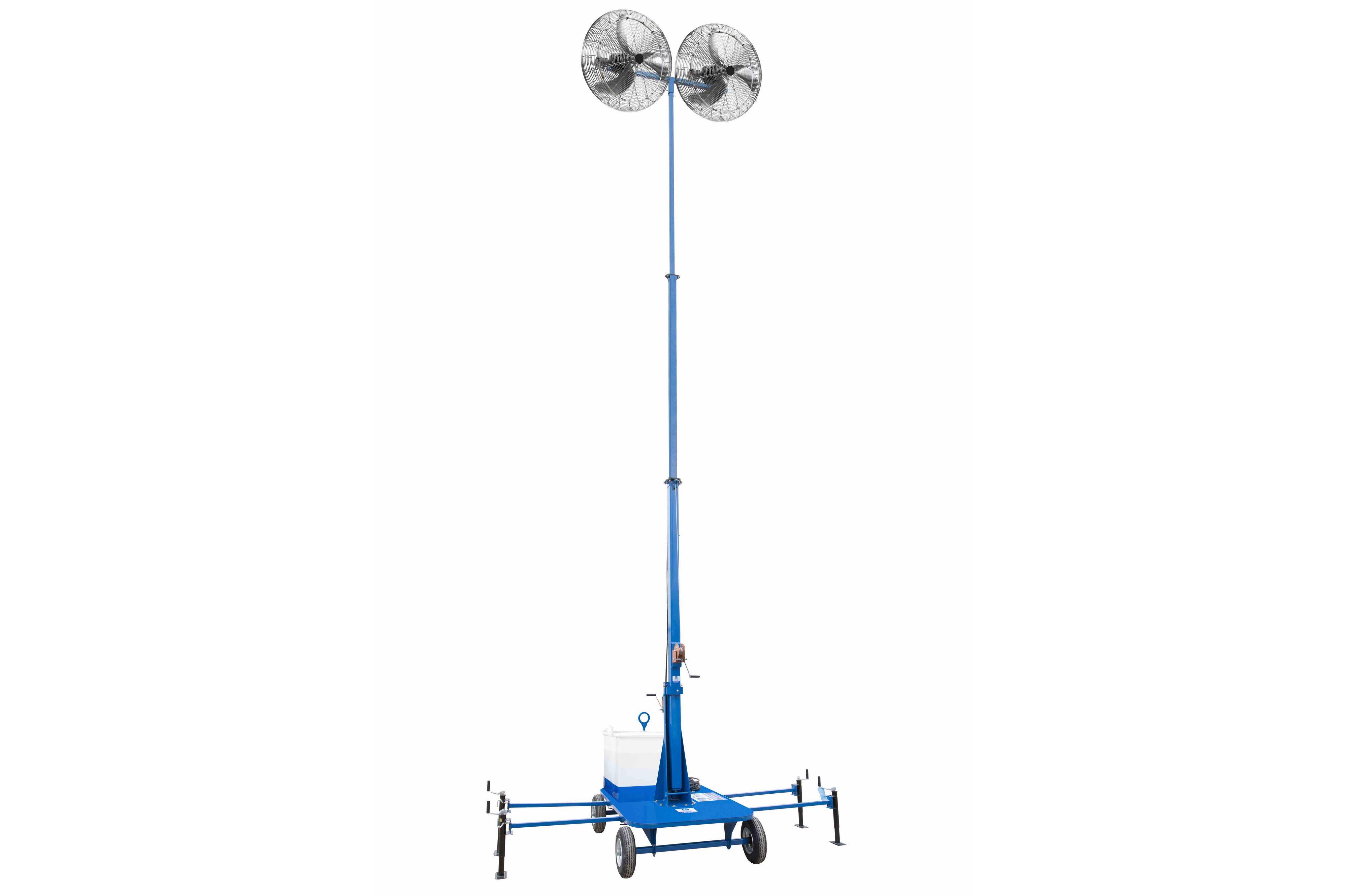 dual portable evaporative air mister cooler on cart w mast 7 12
