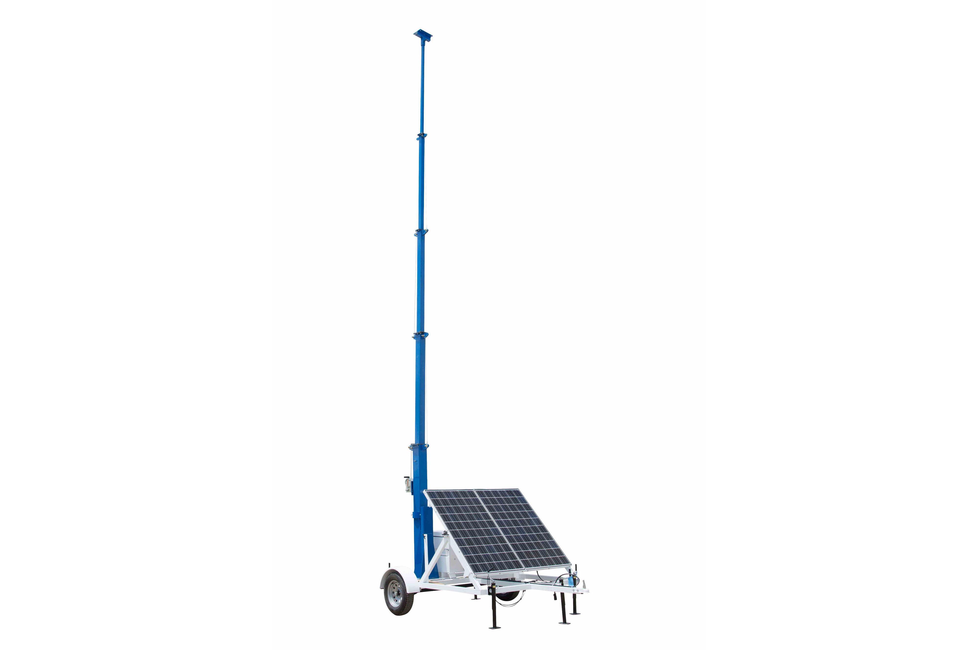 portable solar light tower 30 mast 7 5 trailer 12v 500ah