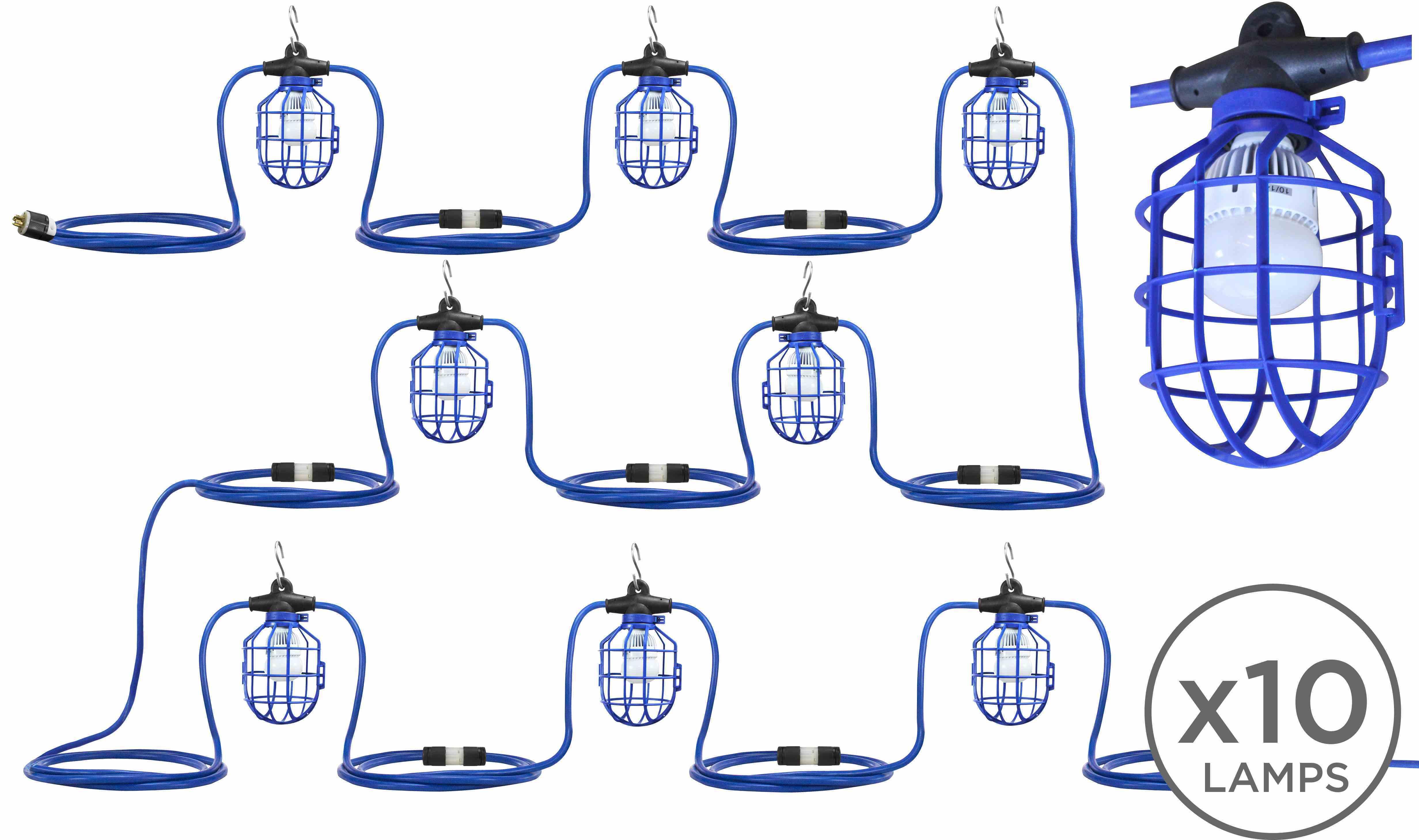 Temporary String Lights Led : 100 Temporary Construction String Light - Ten LED Work Lamps - 120-277V Stepped Down to 12-24V ...