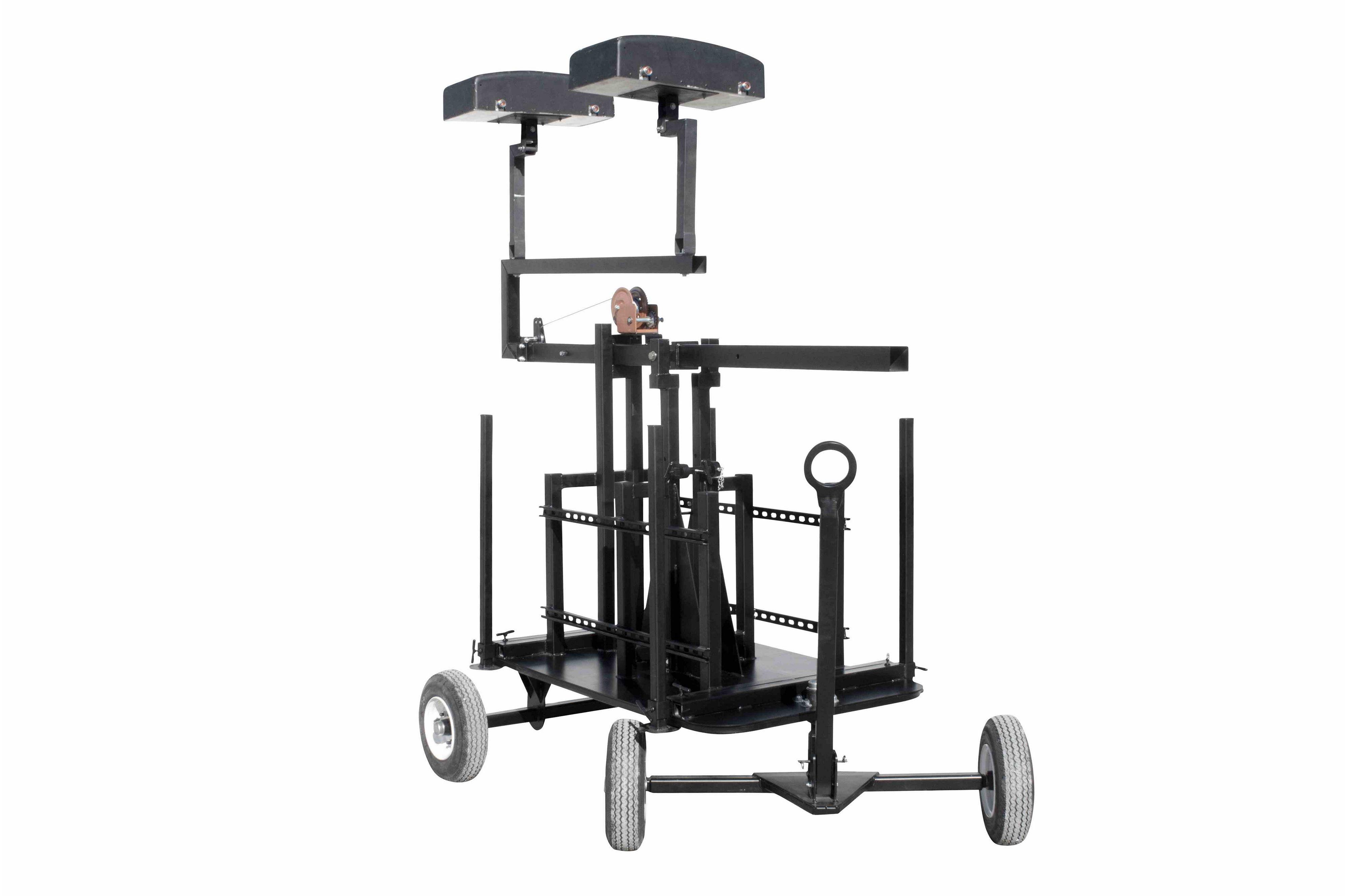 Crank Up Mini Antenna Tower - Wheeled Cart Base - 7'-12
