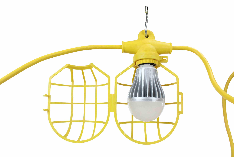 Temporary String Lights Led : 100ft Temporary Construction String Light - Ten LED Work Lamps - 100 Watt LED Stringer - Larson ...