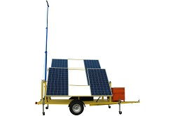 1.2KW Solar Power Generator with Crank-Up Light Tower Mast - 19' Manual Crank Mast - Trailer Mounted