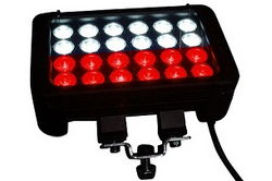 72 Watt Adjustable Magnetic Trunnion Mount LED Light Emitter - 12 Red LEDs, 12 White LEDs - 9-42VDC