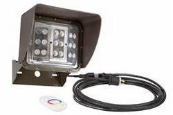 60 Watt Control remoto cambio de color LED Wall Pack Light - 20 'Cord - Soporte de montaje en U - Wide Flood