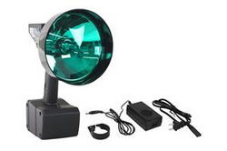 15 Million Candlepower HID Spotlight w/ Green Lens - 1900' Spot Beam - 35 Watt HID - 120V Charger