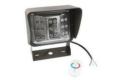 60 Watt Control remoto cambio de color LED Wall Pack Light - 10 'Cord - Soporte de montaje en U - Wide Flood