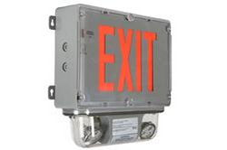 C1D2 Emergency Exit Sign - (2) 8W Halogen Emergency Lights - 90 Minute Runtime - 120/277V