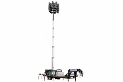 77' Hydraulic Megatower™ Light Plant - 33' Trailer - (20) LED Lamps - 20KW Genset - Auto Retract
