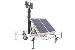 Torre Solar 1060 Watt - 30 'Mast - (4) 100W Lâmpadas - Gerador Diesel de Backup - Temporizador & Crepúsculo / Madrugada