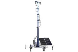 45 'Torre de Segurança Solar Portátil - 7.5' Trailer - (2) Câmeras IP - 2TB NVR - Roteador / 4G Hotspot