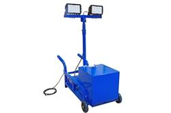 Carro de luz LED para área de trabajo portátil 300W con poste de extensión - Batería recargable - Funcionamiento inalámbrico