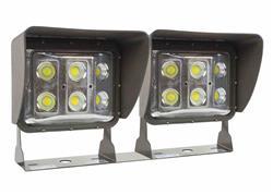 120 Watt Low Profile LED Wall Pack Light con protector antideslumbrante - Wide Flood Beam - Soporte de montaje en U