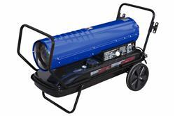 Calentador de aire forzado montado en el carro - 120V - Queroseno / Diesel - 670 CFM, 215000 BTUs - Tanque de gasolina 13 - Azul