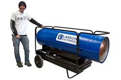 Calentador de aire forzado montado en el carro - 120V - Queroseno / Diesel - 3000 CFM, 600000 BTUs - Tanque de gasolina 40 - Azul