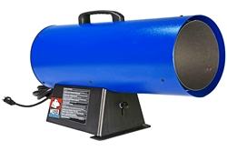 Calentador de aire forzado ajustable - 120V - Propano - 400 CFM, hasta 150K BTU - Manguera / regulador 10 - Azul