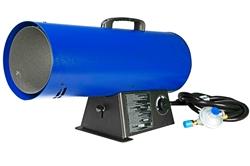 Calentador de aire forzado - 120V - Gas natural - 435 CFM, 150,000 BTUs - Manguera / regulador 10 - Azul