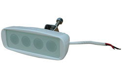 LED Spreader Deck Light - 4 LEDS - White Aluminum Housing - 16' Flood Beam Diameter 12 watts