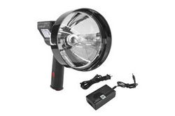 "5 Million Candlepower Handheld Rechargeable Spotlight - 100W Halogen - Spot / Flood - 5""/7"" Lens"