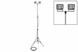 100W LED Flood Lights on Telescoping Tripod - Extends 3.5' to 10' - (2) LED Lamps - 25' Cord