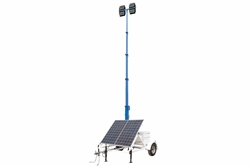 580W Solar Light Tower - 30' Tower - 14' Trailer - (4) LED Lamps - 4kW Generator - Timer/Sensor