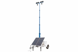 580W Solar Light Tower - 30' Tower - 14' Trailer - (4) LED Lamps - (2) Cameras w/ NVR, Router/4G Hotspot