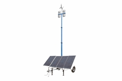 1.06 kW Solar Light Tower - 30 'Tower - 7.5' Trailer - (4) مصابيح LED - (4) بطاريات 250aH - مولد طاقة الرياح