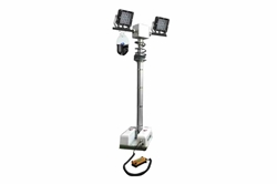 13.5' Vehicle Roof Mount Tower LED Lights w/ Camera -  (2) Lamps - PTZ Camera - NVR/Wireless Router