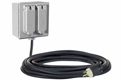*RENT* General Area Industrial Quad-Port Extension Cord - 3' 16/3 SOOW Cord - (2) 5-20R Duplex Receptacles - Magnetic Mount