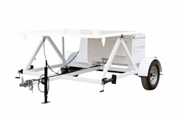 Solar Light Tower Trailer - 7' x 6.5' Trailer Bed w/ 4' Trailer Tongue - A-frame Mount, Job Box, 12V Fans