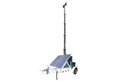 Torre de luz solar 580 Watt - Torre de luz 30 '- Trailer 7.5' - (4) Lâmpadas LED 60 Watt - Carregador de bateria 120V