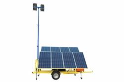 2.4KW Güneş Enerjili Güvenlik Işık Kulesi - (8) 120W LED Işıklar -30 'Manuel Direk