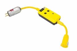Cable de línea SJTW de 18 '' 12/3 con salida protegida GFCI - 20 Amp - Enchufe EXP 5-20P - Estándar 5-20R