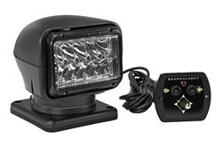 40W Golight Radioray Motorized LED Spotlight, 225,000 Candela, (1) Hardwired Dash Remote, Black
