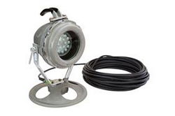 25W Explosion Proof LED Light - 120-277VAC or 11-25V AC/DC - Pedestal Mount - 100' Cord w/ EPP Cap