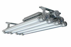 Explosion Proof Fluorescent Lights - Paint Booths, Rigs - 4', 8 Lamp Fixture - Bi-Axial Bulb Design
