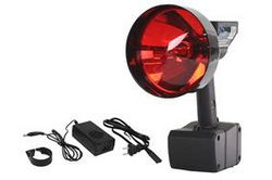 15 Million Candlepower HID Spotlight w/ Red Lens - 1900' Spot Beam - 35 Watt HID - 120V Wall Charger