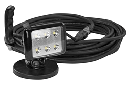 120VAC LED Flood Light on Adjustable 200lb. Grip Magnetic Base - 6, 1-Watt LEDs - 50' SOOW Cord