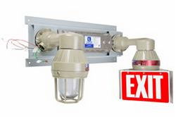 Class I, Div. I & II Emergency Lighting System - 90 Minutes - Explosion Proof Bug Eyes Exit Sign - 1