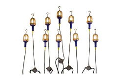 Explosion Proof String Lights - 10 Drop Lights w/ 10 foot whip - Blunt Ends - Class 1/II, Division 1
