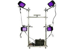 Battery Operated Ultraviolet Paint Curing LED Light Cart Dolly - 365NM - Four Adjustable Locking Lig