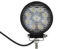 Luz de Inundação Redonda LED 27 Watt - 2160 Lumens - Nove LEDs 3-Watt - 10-32 Volt DC - IP67 Impermeável