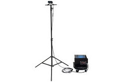 Portable Rechargeable LED Lighting System - Tripod Mounted - Wheeled Battery Pack Stool