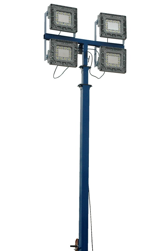 The LM-30-3S-TLR fitted with four EPL-HB-150LED-RT 150 Watt Explosion Proof LED Light Fixtures