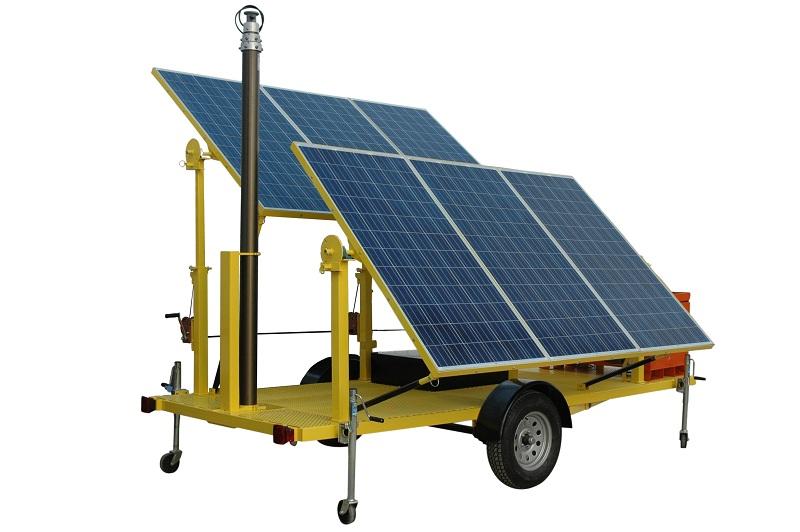 18kw solar powered security light tower 4 160 watt led lights motion sensor pneumatic mast